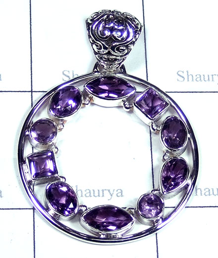 Silver Amethyst gems Round Pendant-ss5p245
