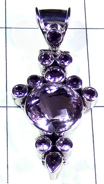 Sterling silver Amethyst Pendant-ss5p279