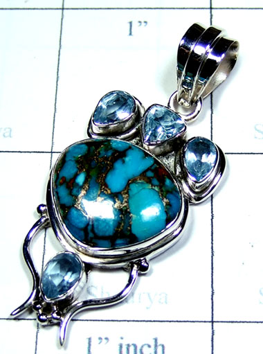 Blue copper Turquoise cut cab Pendant-ss5p310