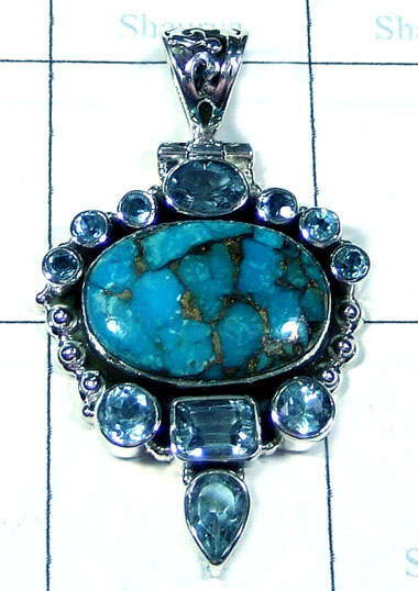 Silver Blue combination cut cab Pendant-ss5p317