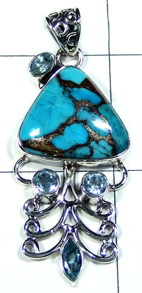 Blue Turquoise with Blue topaz Pendant-ss5p324
