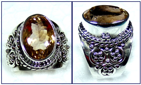 Sterling silver Citrine Ring-ss5r101