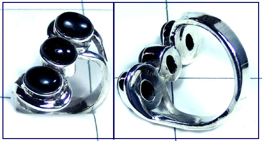Sterling silver Black onyx Ring-ss5r139