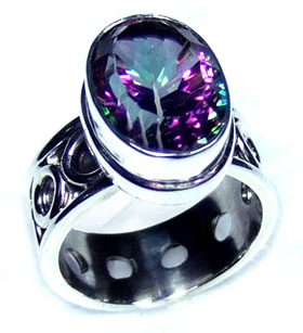 Faceted gemstone silver Ring-ss5r142