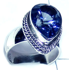 Sterling silver Blue Mystic gems Ring-ss5r143