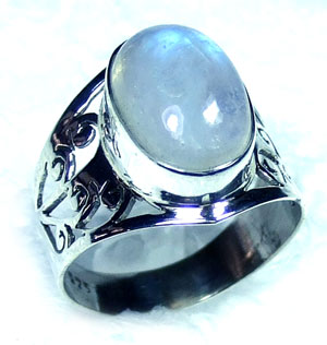 Sterling silver Rainbow Moonstone Ring-ss5r146
