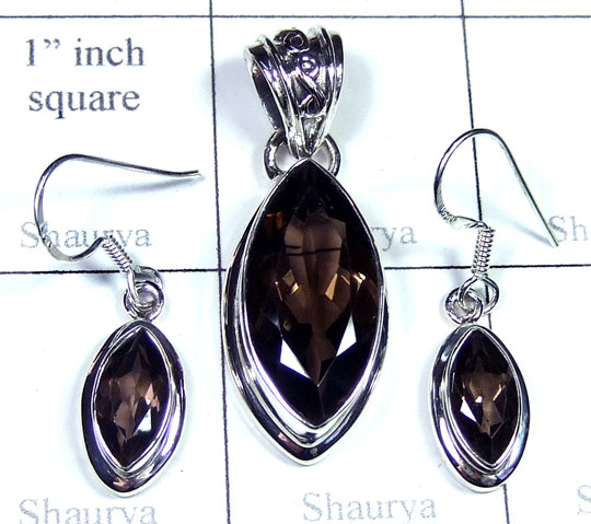 Silver Smokey quartz gemstone Set-ss5set009