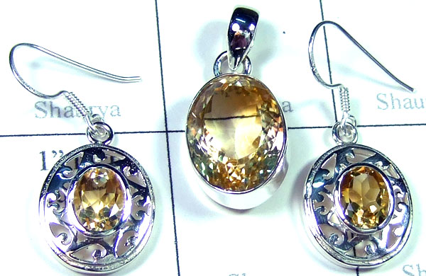 Sterling silver Citrine gems Set-ss5set010