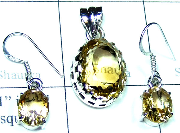 Sterling silver Citrine gems Set-ss5set011