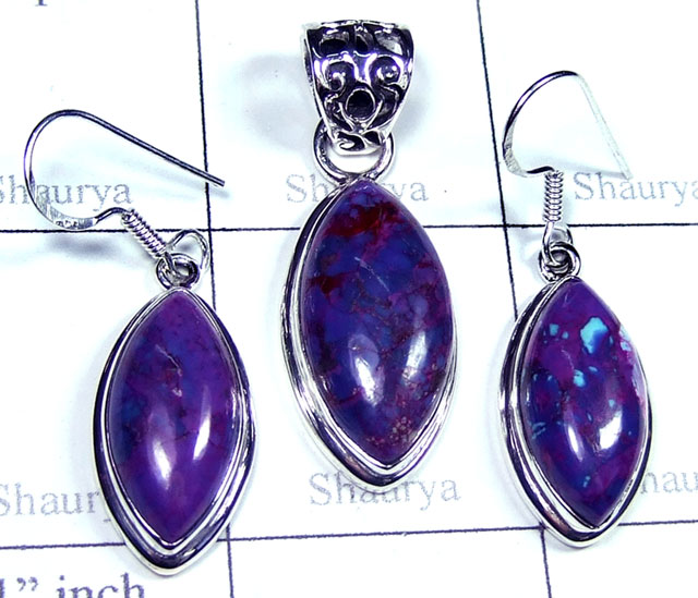 Purple copper Turquoise gems Set-ss5set014