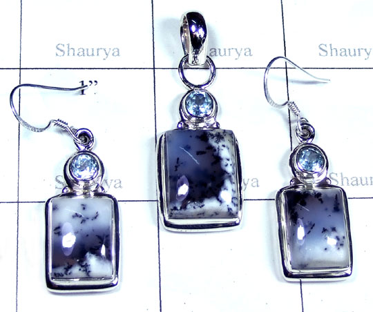 Sterling silver Dendritic Agate gems Set-ss5set016