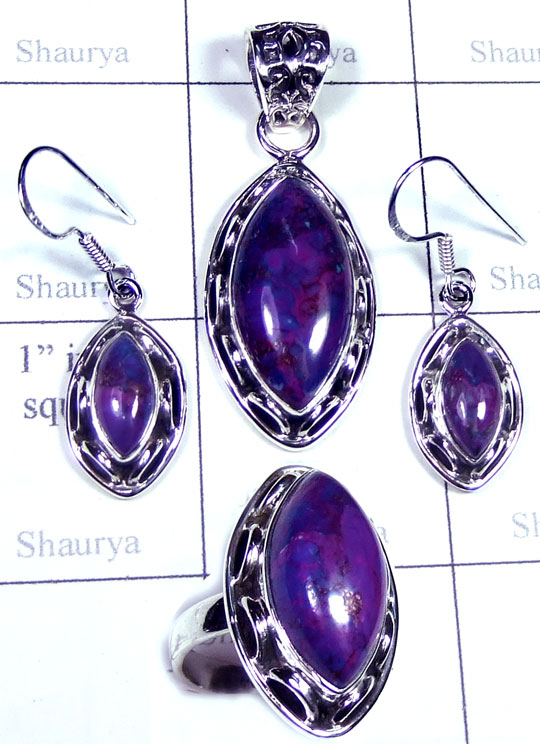 Silver Purple copper gems Set-ss5set017