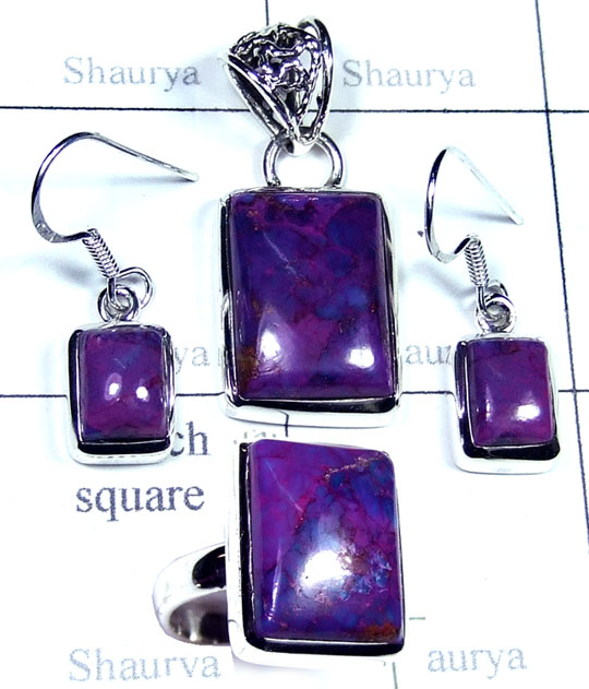 Silver Purple copper gems Set-ss5set018