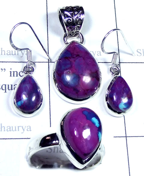 Purple Turquoise silver gems Set-ss5set019