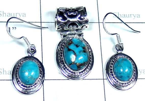 Blue copper Turquoise gems Set-ss5set020