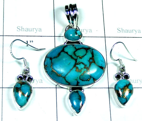 Silver Blue copper Turquoise gems Set-ss5set025