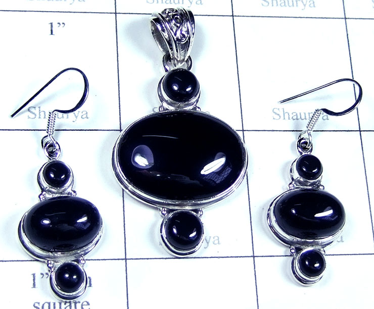 Sterling silver Onyx gemstone Set-ss5set026