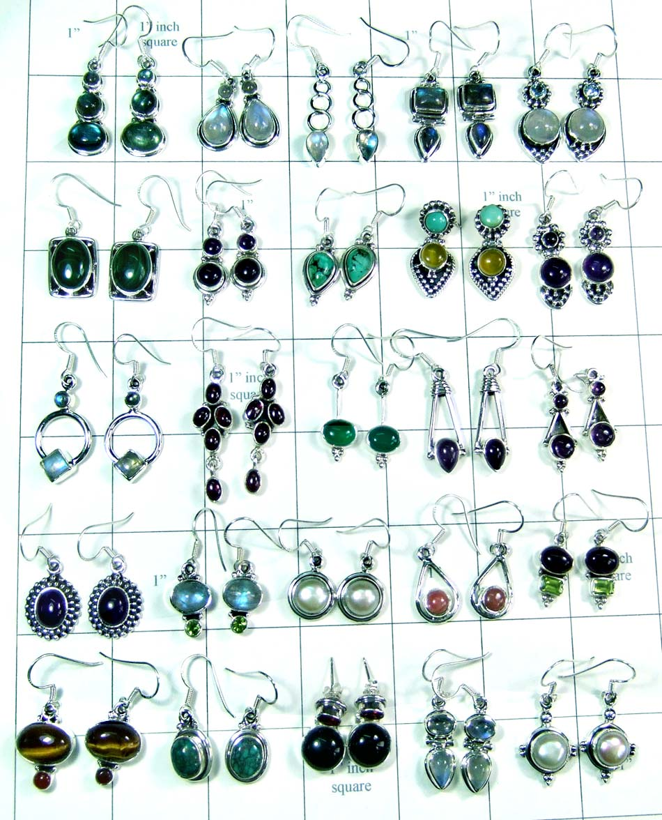 Beautiful Silver Earrings Lot-wljse005