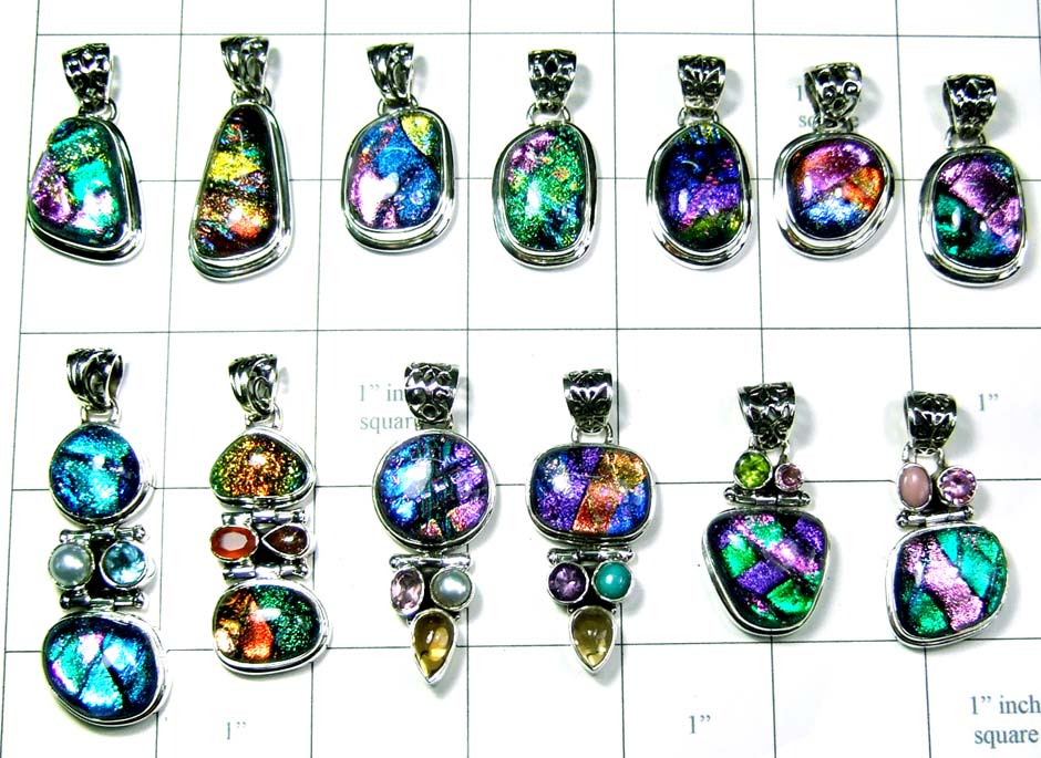Sterling silver Dechoric glass Pendants india-wljsp011