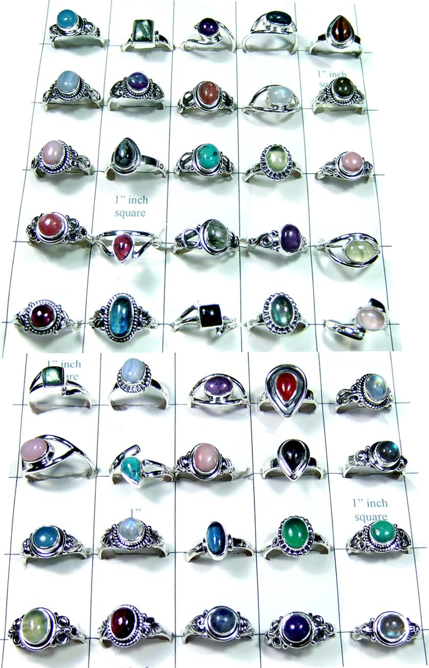 250g Sterling silver mix cabochon Rings-wljsr023