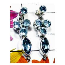 Blue Topaz gems with 925 silver Earring-BTE010