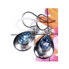 Faceted Blue Topaz silver Earring-BTE021
