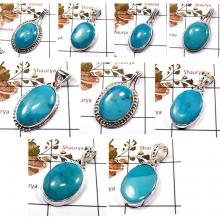 CBP897-9 Pcs. Arizona Sleeping Beauty Turquoise Handmade Designer Wholesale Pendants 925 Sterling Silver