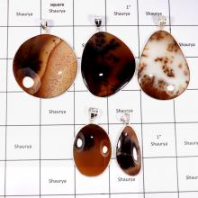 CBP886-5 Pcs. Glamorous Russian Dendritic Agate Wholesale Bezel Pendants 925 Sterling Silver