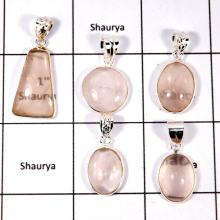 CBP894-5 Pcs. Lovely Rose Quartz Company Wholesale Bezel Pendants 925 Sterling Silver