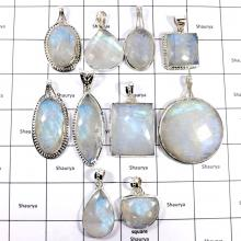 CBP905-10 Pcs. Sparkling Rainbow Moonstone Gemstone Wholesale Pendants 925 Sterling Silver
