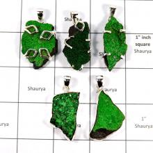 CBP909-5 Pcs. Glamorous Gemstone Uvavorite Prety Look Pendants Wholesale Lot 925 Sterling Silver