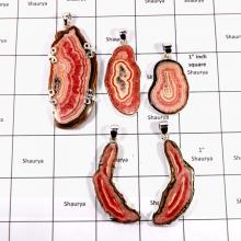 CBP912-5 Pcs. RhodoChrosite Slice Gemstone Heavy Pendants Wholesale Lot 925 Sterling Silver