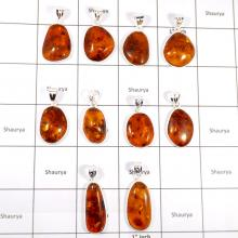 CBP923-10 Pcs. Natural Baltic Amber Gemstone Factory Wholesale Pendants 925 Sterling Silver