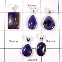 CBP925-5 Pcs. Charoite Gemstone 925 Sterling Silver Colorful Bezel Pendants