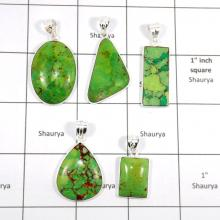 CBP928-5 Pcs Stunning Gemstone Green Copper Turquoise 925 Sterling Silver Wholesale Pendants