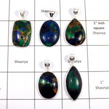 CBP929-5 Pcs. Mohave Copper Azurite Gemstone 925 Sterling Silver Wholesale Pendants