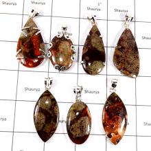 CBP933-7 Pcs. Graceful Ocean Jasper Gemstone 925 Sterling Silver Wholesale Pendants