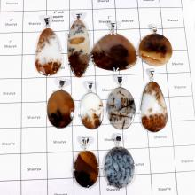 CBP938-10 Pcs. Glamorous Russian Dendrite Gemstone 925 Sterling Silver Wholesale Pendants