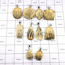 CBP939-10 Pcs. Germany Dendrite Wholesale Lot 925 Sterling Silver Fashionable Pendants