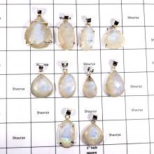 CBP940-10 Pcs. Sparkling Rainbow Moonstone Gemstone 925 Sterling Silver Wholesale Pendants
