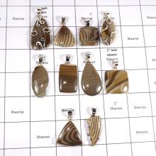 CBP941-10 Pcs. Natural Agate Dubby Gemstone 925 Sterling Silver Wholesale Pendants