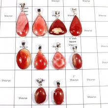 CBP944-10 Pcs. Rhodochrosite Gemstone Factory Wholesale 925 Sterling Silver Handmade Pendants