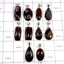 CBP949-10 Pcs. Fabulous Boulder Opal Gemstone 925 Sterling Silver Wholesale Pendants