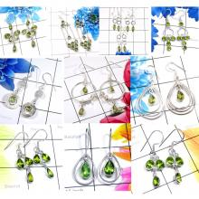 CBP954-10 Pairs Green Color Gemstone Peridot 925 Sterling Silver Bezel Earrings