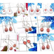 CBP955-10 Pairs Rhodochrosite Gemstone 925 Sterling Silver Wholesale Earrings