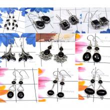 CBP956-10 Pairs Black Onyx Gemstone 925 Sterling Silver Designer Earrings
