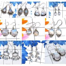CBP957-10 Pair Sparkling Rainbow Moonstone Handmade Wholesale Designer Earrings