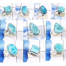 CBP958-10 Pcs. Gorgeous Larimar Gemstone 925 Sterling Silver Handmade Rings