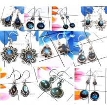 CBP964-10 Pcs. Labradorite Gemstone 925 Sterling Silver Handmade Designer Earrings