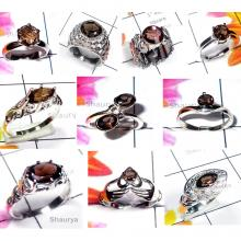 CBP969-10 Pcs. Smokey Quartz 925 Sterling Silver Wholesale Casting Rings